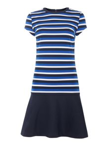 Michael Kors Short sleeve stripe flounce dress