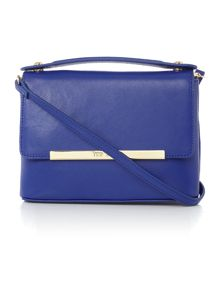 Irena blue saffiano leather small crossbody
