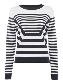 Long sleeve crew neck stripe knit