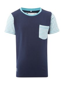 name it Boys Contrast striped sleeve tee
