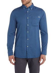 Long Sleeve Dotted Semi Plain Shirt