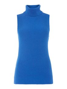 Sleeveless turtleneck jumper