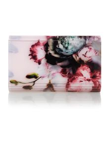 Dorsie pink floral resin clutch bag
