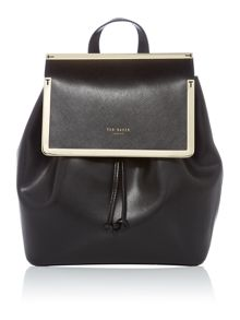 Monise black leather backpack