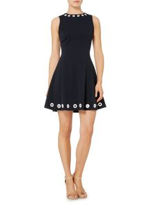 Michael Kors Sleeveless grommet flare dress