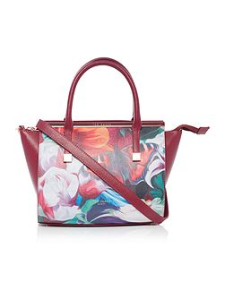 Ferlee red floral cross body tote bag