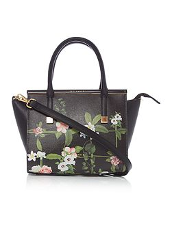 Shena black floral cross body tote bag