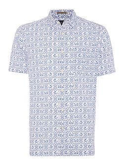 South pacific print short sleeve shirt