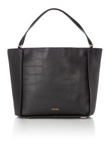 Calvin Klein Shari croc black large tote bag