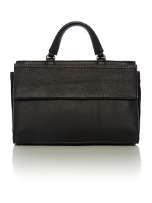 Shari snake black small tote satchel
