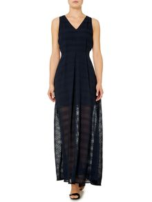 Sleeveless dot jacquard maxi dress