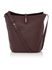 Burgundy flapover shoulder bag