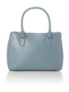 Lauren Ralph Lauren Newbury light blue medium double zip tote