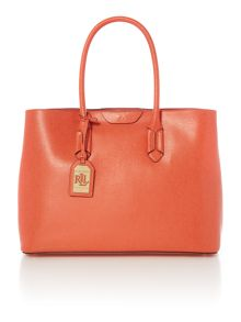 Lauren Ralph Lauren Tate orange large city tote bag