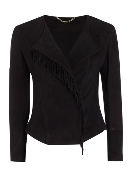 Marella Nastro side zip fitted tassle front jacket