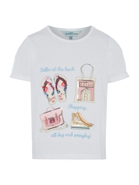 Little Dickins & Jones Girls Going to the beach sequin tee