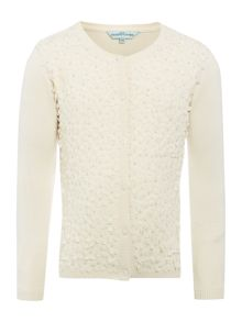 Little Dickins & Jones Girls Flower front cardigan