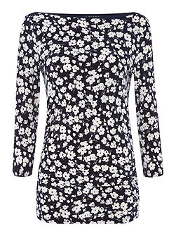 Aveley floral print top with boat neck