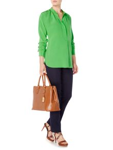Bridney collarless silk blouse