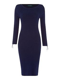 Sheldie fitted boat neck dress