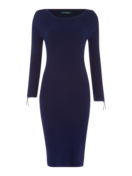 Lauren Ralph Lauren Sheldie fitted boat neck dress