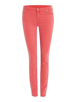 Slim illusion mid rise skinny jean in fuschia
