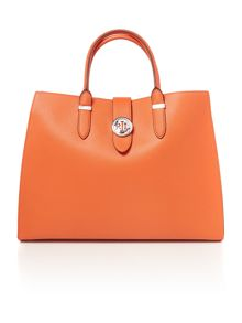 Lauren Ralph Lauren Charleston orange large tote bag