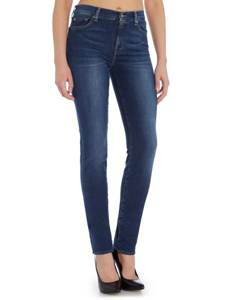 7 For All Mankind Rozie high rise slim jean in La mid indigo