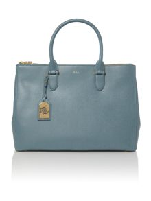 Lauren Ralph Lauren Newbury light blue large double zip tote bag