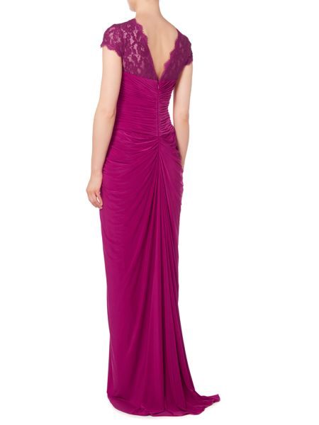 Adrianna Papell Venechia jersey gown with lace sleeves