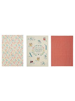 Farmers market set of 3 tea towels