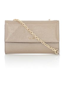 Fairfield patent taupe mini f/over crossbody bag