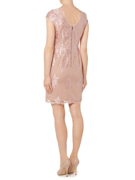 Adrianna Papell Cap sleeve dress with large embroidered motif