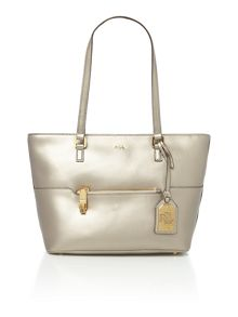 Lauren Ralph Lauren Whitby gold pocket shoulder tote