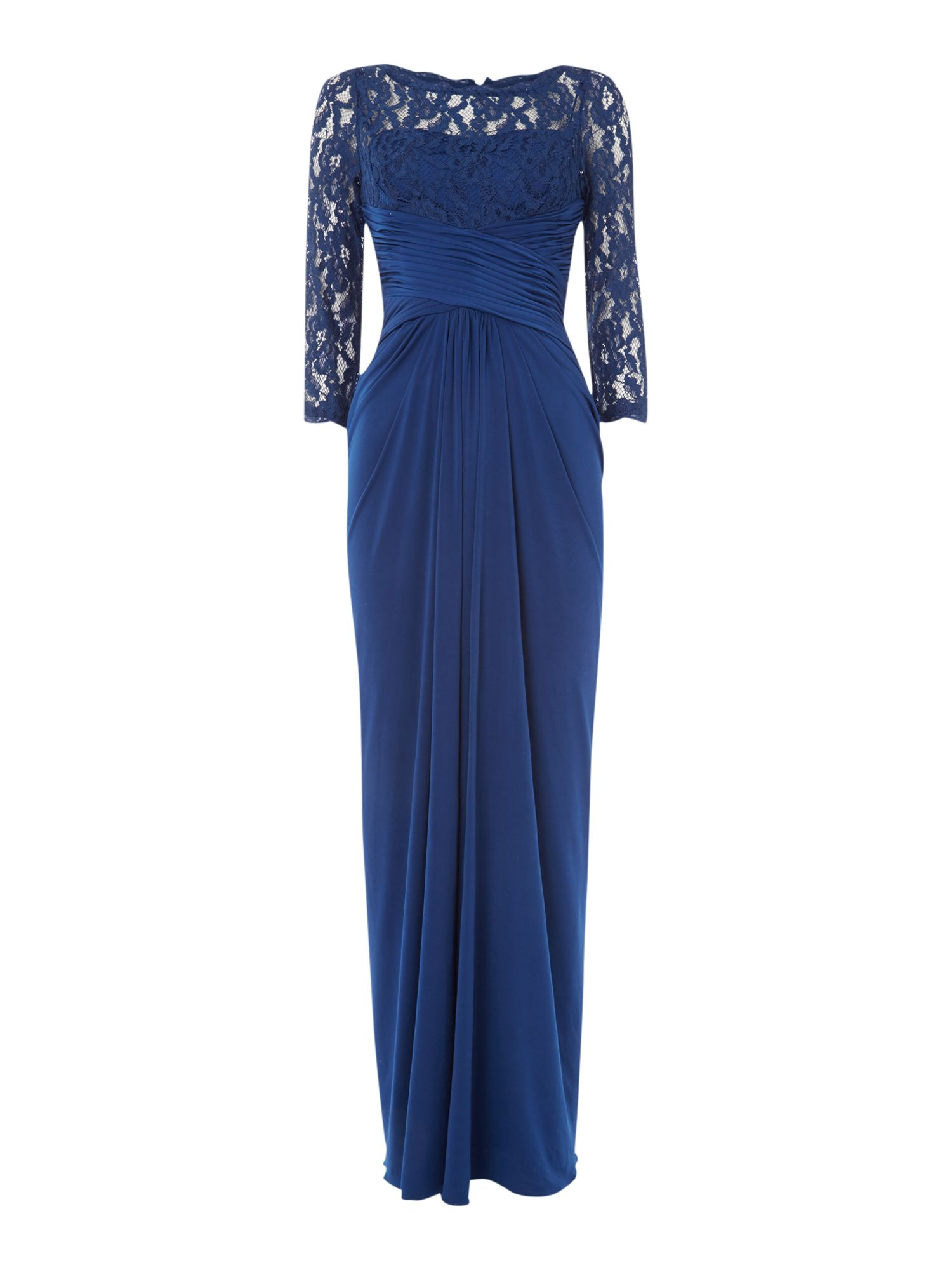 Adrianna Papell Rouched waist gown with lace top and 3/4 sleeves, Blue