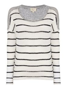 Thick stripe ls jersey top