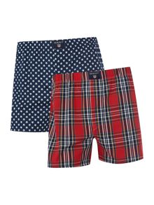 2 pack check and star print woven boxer giftbox
