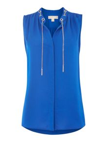 Sleeveless chain neck silk blouse