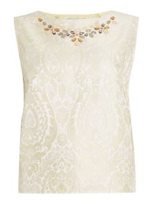 Dickins & Jones Jacquard Top with Embellished Neckline