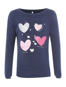 name it Girls Glittery hearts top
