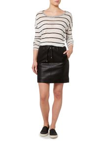 Drawstring leather skirt