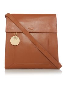 Border tan large flap over crossbody bag