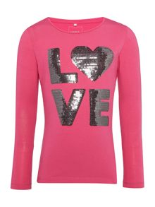 name it Girls Sequin Love top
