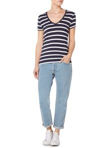 Levi's Perfect short sleeve V neck stripe tee