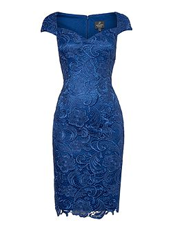 All over lace shift dress with sweetheart neck