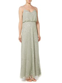 Adrianna Papell Art deco beaded blouson dress