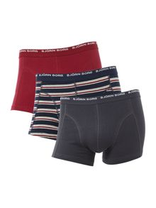 Bjorn Borg Basic stripe and plain trunk 3 pack