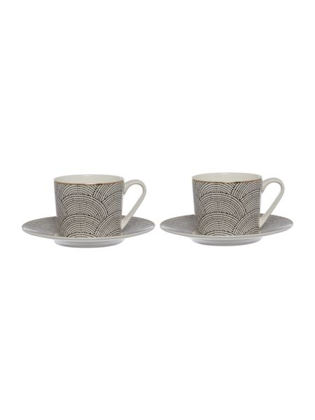 Living by Christiane Lemieux Shibori Set Of 2 Teacup & Saucer