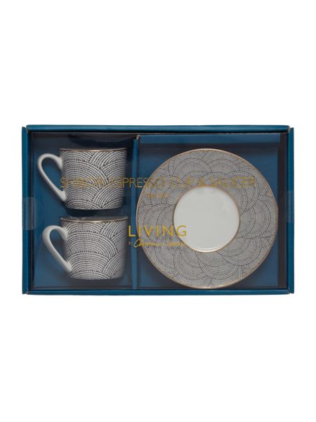 Living by Christiane Lemieux Shibori  Set Of 2 Espresso & Saucer