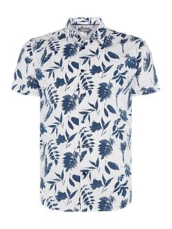 Burns Floral Monochrome Short Sleeve Shirt